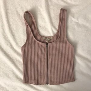 EXPRESS Dusty Pink Crop Top with Zipper Closure